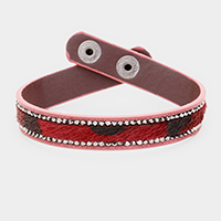 Crystal Pave Animal Texture Snap Button Closure Bracelet