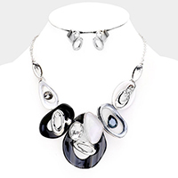 Crystal Oval Abstract Celluloid Acetate Collar Necklace