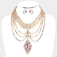 Crystal Pave Draped Teardrop Pendant Evening Necklace