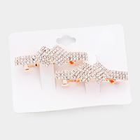 2PCS - Crystal Rhinestone Pave Double Rectangle Barrette