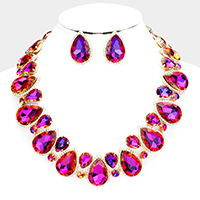 Crystal Rhinestone Teardrop Statement Collar Necklace