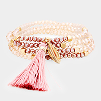 Glass Beads Tassel Feather Charm Bracelet / Necklace