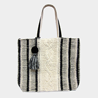 Striped Woven Suede Handle Pom Pom Tassel Tote Bag