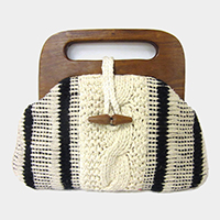 Striped Knit Wood Handle Tote Bag