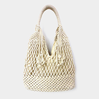 Crochet Knit Handle Tote Bag