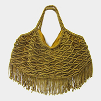 Crochet Knit Handle Tassel Trimmed Tote Bag