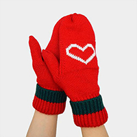 Knit Heart Mitten Gloves