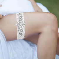Crystal Pave Lace Floral Stretch Wedding Garter