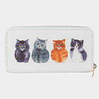Four Cute Cats Zipper Closure Wallet