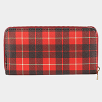 Tartan Check Pattern Zipper Closure Wallet