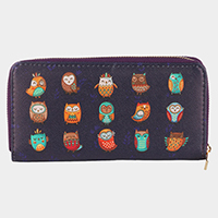 Cute Owl Pattern Zipper Closure Wallet