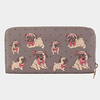 Glasses Bulldogs Zipper Closure Wallet