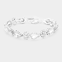Crystal Rhinestone Trim Teardrop Evening Bracelet