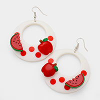 Cut Out Round Apple Watermelon Dangle Earrings