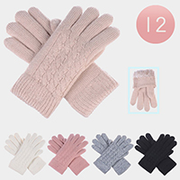 12PCS - Fur Lined Classic Cable Knitted Gloves