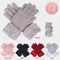 12PCS - Faux Fur Classic Cable Knitted Gloves