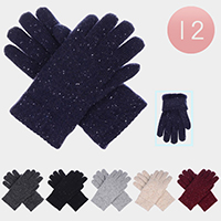 12PCS - Faux Fur Glitter Knitted Gloves