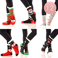 12PAIRS - Christmas Theme Sherpa Lined Slipper Socks