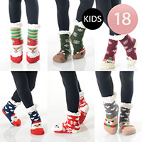 18PAIRS - Christmas Theme Kid's Sherpa Socks