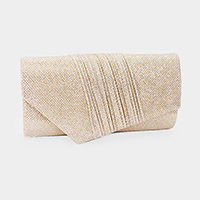 Diagonal Pleated Glitter Evening Clutch