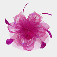 Feather Mesh Bow Floral Net Lighting Fascinator