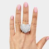 Crystal Pave Puffy Heart  Stretch Ring