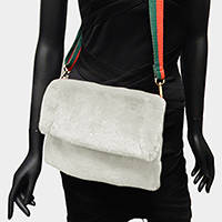 Rectangle Fluffy Faux Fur Crossbody Bag