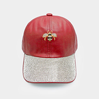 Crystal Embellished Metal Honey Bee Accented Leather Cap