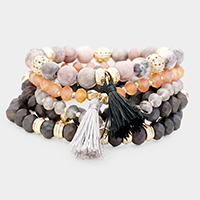 5PCS - Semi Precious Beaded Double Tassel Stretch Bracelets