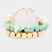 3PCS - Semi Precious Druzy Wood Bead Stretchable Bracelets