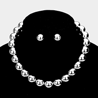 Metal Round Ball Choker Necklace