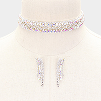 Crystal Oval Rhinestone Pave Choker Necklace