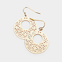 Metal Filigree Cut Out Round Earrings