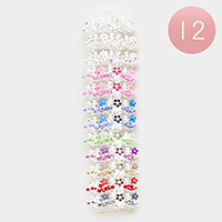 12PCS - Crystal Floral Leaf Hair Bobbie Pins