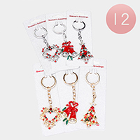 12PCS - Enamel Stone Embellished Christmas Bell Wreath Key Chain