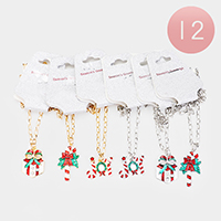 12PCS - Joy Candy Cane Christmas Necklaces