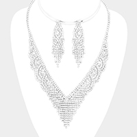 Crystal Round Rhinestone Pave V Collar Necklace