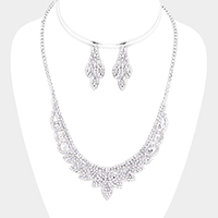 Crystal Round Rhinestone Pave Leaf Collar Necklace