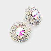 Crystal Round Evening Stud Clip on Earrings