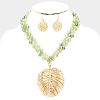 Metal Tropical Leaf Bead Triple Strand Necklace