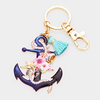 Watercolor Enamel Anchor Tassel Keychain