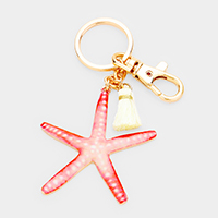 Watercolor Enamel Starfish Tassel Keychain