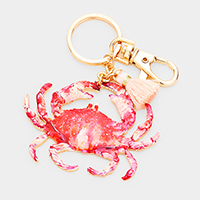Watercolor Enamel Crab Tassel Keychain