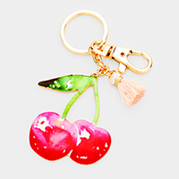 Watercolor Enamel Cherry Tassel Keychain
