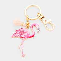 Watercolor Enamel Flamingo Tassel Keychain