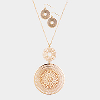 Metal Filigree Double Round Pendant Long Necklace