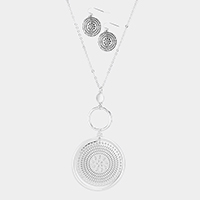Metal Filigree Round Pendant Long Necklace