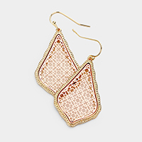 Textured Trimmed Marquise Metal Filigree Earrings