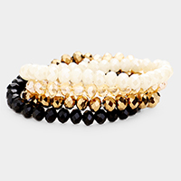 4PCS - Faceted Bead Stretch Bracelets