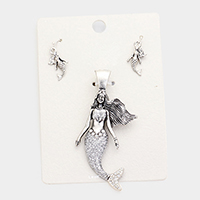 Crystal Glitter Mermaid Metal Magnetic Pendant Set
